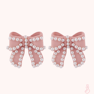 C-1496 Pearl Stud Bow Earrings