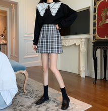 Load image into Gallery viewer, A-1031 Glitter Plaid A-line Mini Skirt