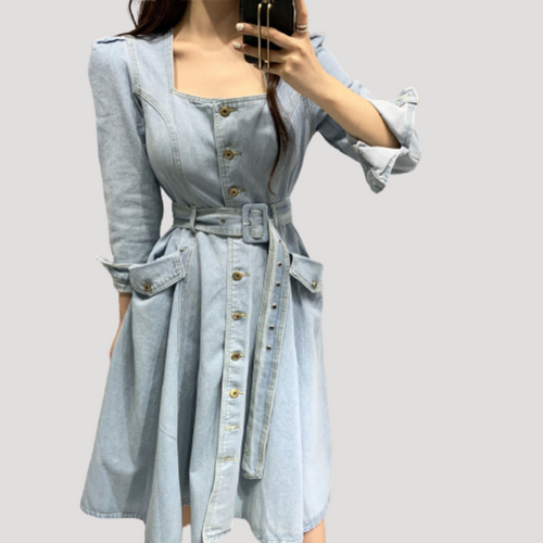 A-963 Denim Buttoned Midi Dress