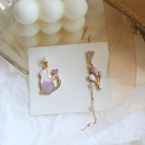 C-1370 Purple Assymetrical Balloon Cat Pearl Dangling Earrings