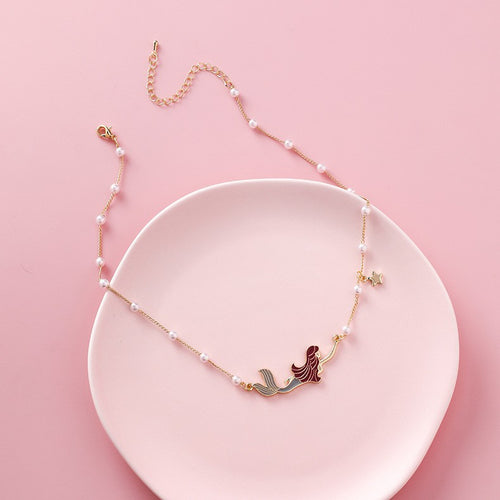C-1256 Girl Mermaid Choker Necklace
