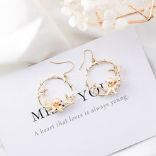 Load image into Gallery viewer, C-1269 Floral Pearl Hollow Earrings