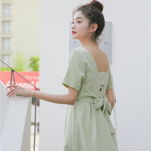 A-920 Low Back Belted Casual Dress