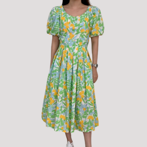 A-975 Pleated Floral Midi Dress