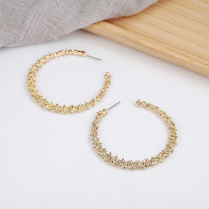C-1346 Prickly Gold Loop Earrings