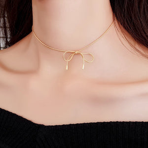 C-1257 Simple Bow Choker Necklace