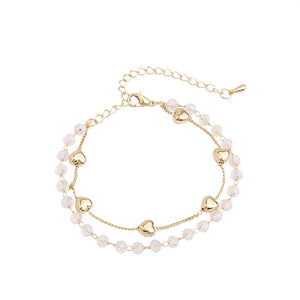 C-1415 Double Layer Crystal Heart Bracelet