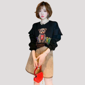 A-967 Bear Shirt and Fringe Skirt