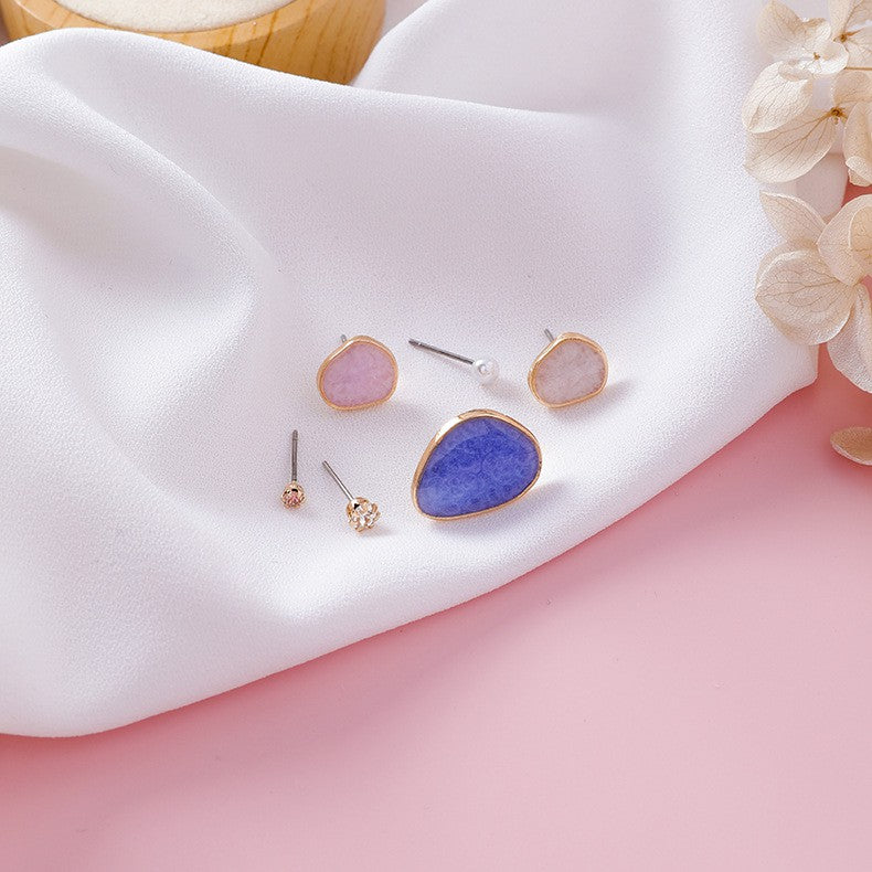 C-1284 Blue 6PC Candy Color Drop Earrings