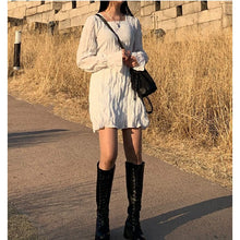Load image into Gallery viewer, A-972 Wrinkled Longsleeves Mini Dress