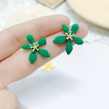 Load image into Gallery viewer, C-1371 Green Textured Stud Flower Earrings