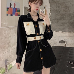 A-1003 Single Breasted Blazer Dress