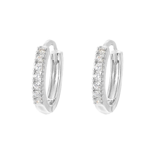 C-1385 Small Circle Diamond Loop Earrings