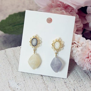 C-1096 French Assymetrical Wild Jade Earrings
