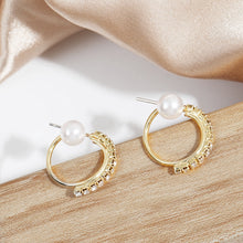 Load image into Gallery viewer, C-1405 Pearl Semicircle Diamond Stud Earrings