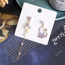 Load image into Gallery viewer, C-1370 Purple Assymetrical Balloon Cat Pearl Dangling Earrings