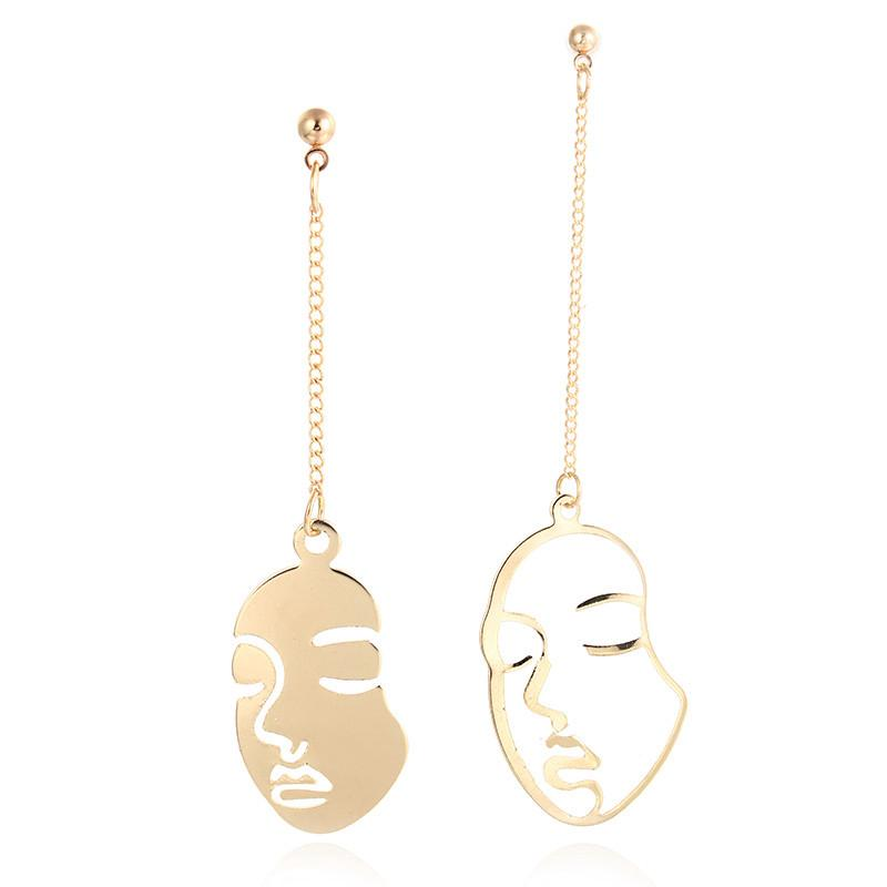 C-1348 Gold Double Face Tassel Earrings