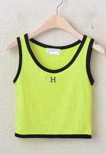 A-869 Lime H-Crop Sleeveless Top