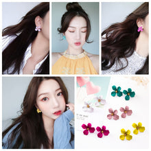 Load image into Gallery viewer, C-1200 Solid Color Flower Stud Earrings