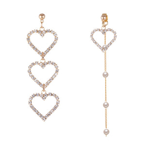 C-1205 Hollow Diamond Heart Dangling Earrings