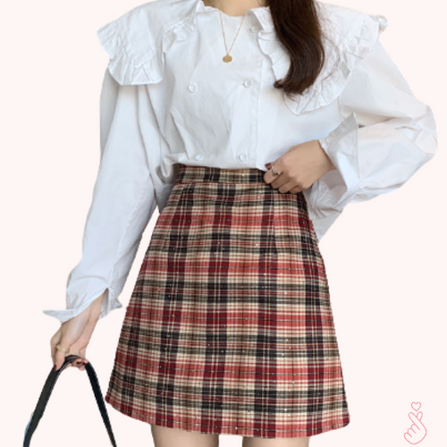 A-1031 Glitter Plaid A-line Mini Skirt