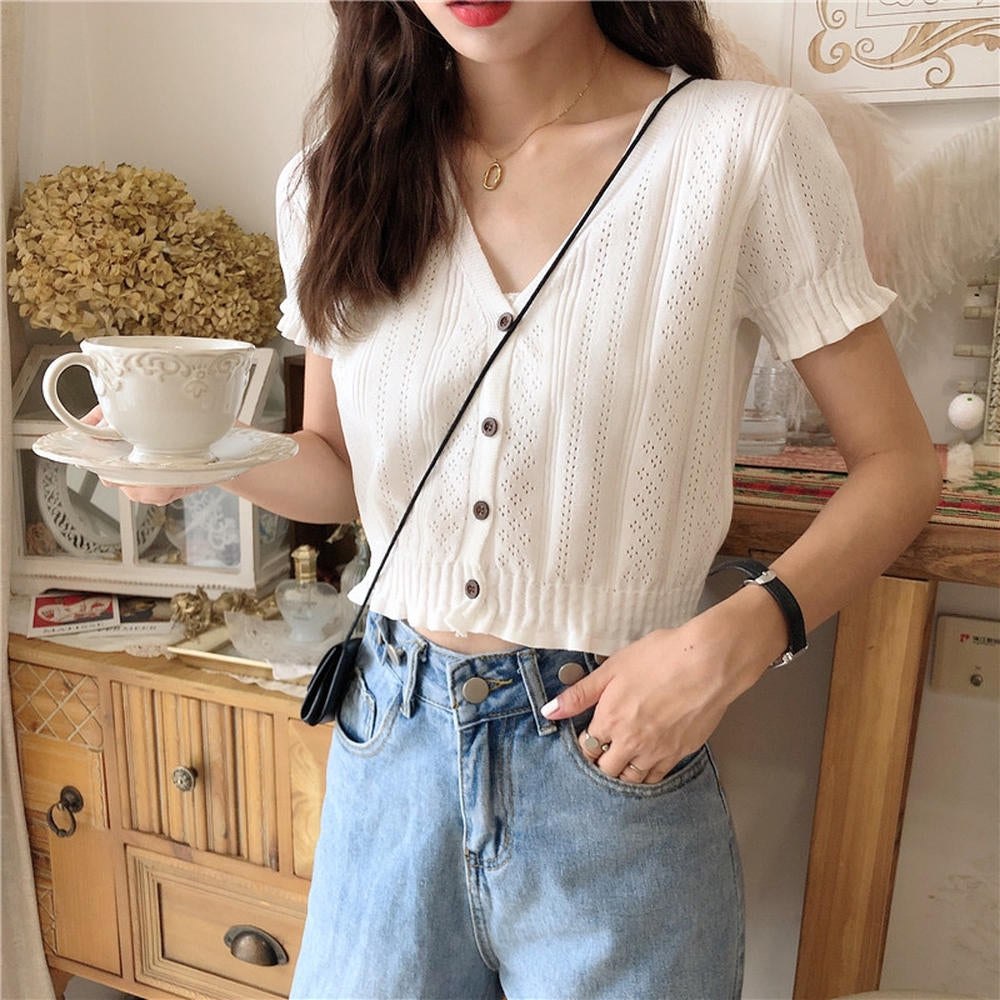 A-984 Buttoned Knit Crop Top