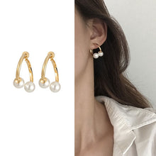 Load image into Gallery viewer, C-1055 Cross Pearl Earrings
