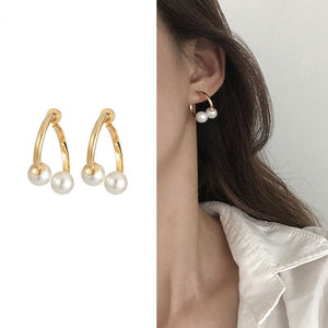 C-1055 Cross Pearl Earrings