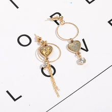 Load image into Gallery viewer, C-1211 Assymetrical Zircon Dangling Earrings