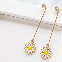 Load image into Gallery viewer, C-1007 Long Sunflower Pendant Earrings