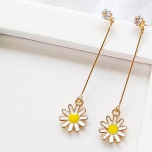 C-1007 Long Sunflower Pendant Earrings