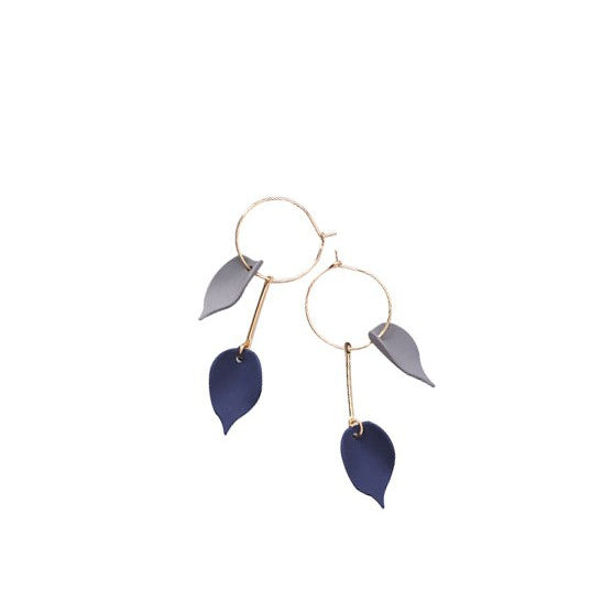 C-1155 Leave Circle Dangling Earrings