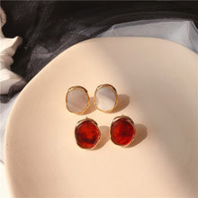 Load image into Gallery viewer, C-1047 Amber Stone Stud Earrings