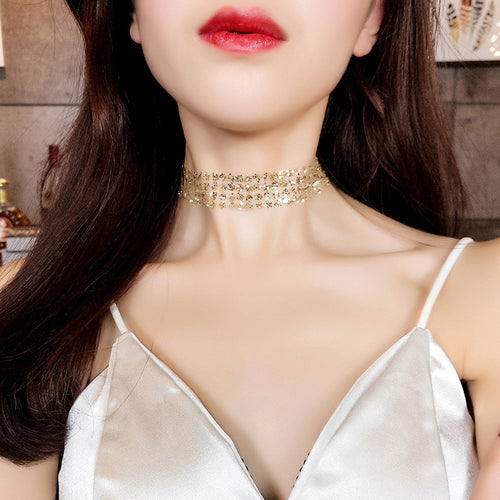 C-1016 Choker Chain Sequin Necklace