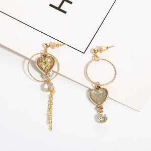 C-1211 Assymetrical Zircon Dangling Earrings