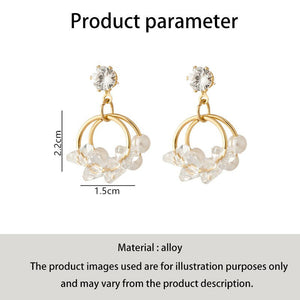 C-1065 Double Layer Ring Bead Pearl Earrings