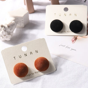 C-1082 Mushroom Suede Stud Earrings