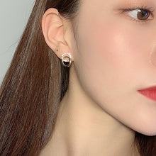 Load image into Gallery viewer, C-1025 Zircon Double Round Earrings