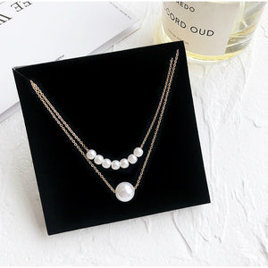 C-1060 Double Pearl Layered Necklace