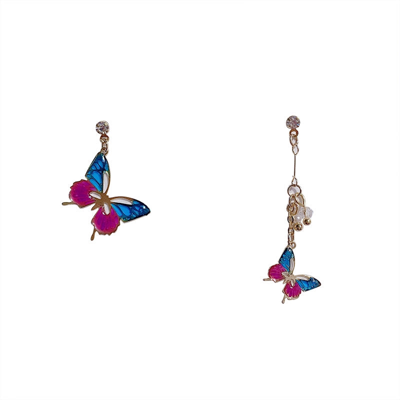 C-1397 Assymetrical Purple Blue Butterfly Earrings