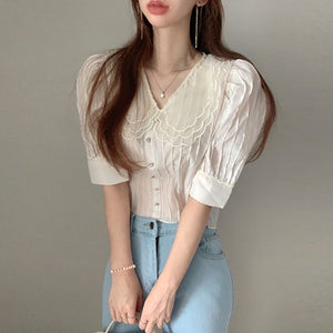 A-911 Layered Doll Collar Loose Blouse