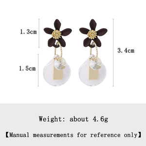 C-1395 Flower Petal Tassel Earrings