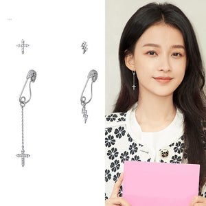 C-1166 4-in-1 Assymetrical Lightning and Paperclip Earrings