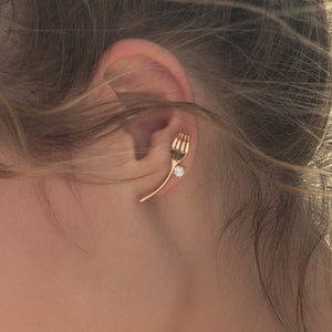 C-1375 Gold Spoon Fork Earrings