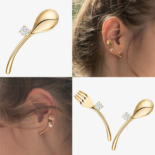 Load image into Gallery viewer, C-1375 Gold Spoon Fork Earrings
