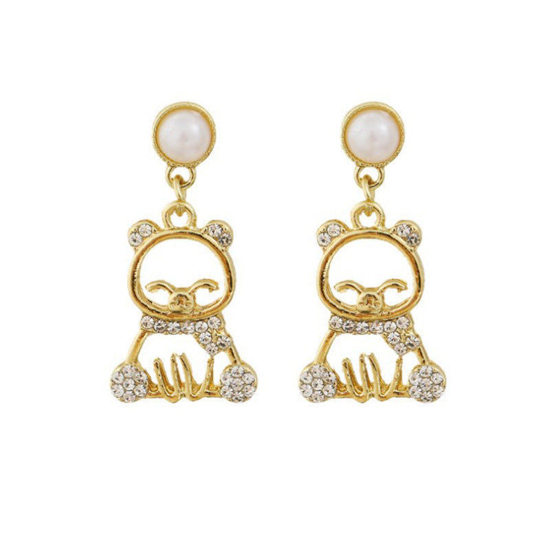 C-1480 Bear Pearl Earrings