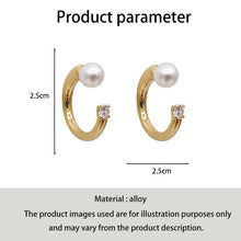 Load image into Gallery viewer, C-1132 Pearl Diamond Ring Stud Earrings