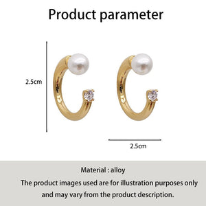 C-1132 Pearl Diamond Ring Stud Earrings