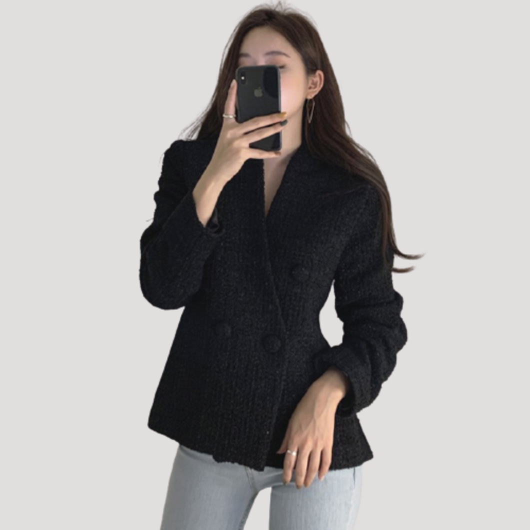 A-974 Oversized Tweed Cardigan