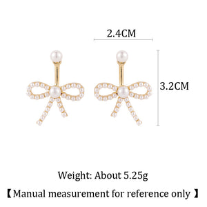 C-1491 Pearl Studded Drop Bow Earrings